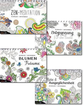 Malbuch für Erwachsene - Paket (4 Bücher mit Ringbuchbindung)