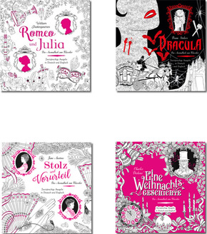 Ausmalbuch für Erwachsene - Literatur-Klassiker (4 Bücher)