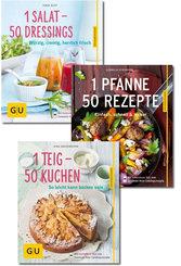 Kochbuch-Paket - Pfannengerichte, Dressings, Kuchen (3 Bücher)