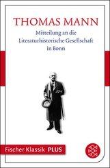 Mitteilung an die Literaturhistorische Gesellschaft in Bonn (eBook, ePUB)