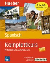 Komplettkurs Spanisch, 2 Übungsbücher, 1 Begleitheft u. 8 Audio-CDs