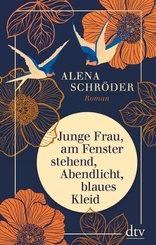 Junge Frau, am Fenster stehend, Abendlicht, blaues Kleid (eBook, ePUB)