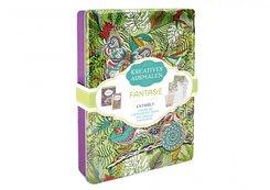 Kreatives ausmalen - Fantasie (Box mit Malblock, Malbuch, Malposter & 8 Buntstifte)