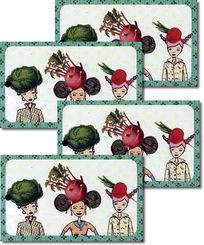"""Frühstücksbrettchen - Motiv Mein wunderbarer Garten """"Gemüse"""" (4 Stück)"""